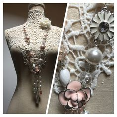 Long necklace with pearls, flowers, Crystals and tassel. One of a kind.