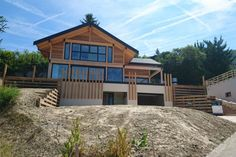 Vision wood - projects - home-wood post beam the haute-savoie region of st cergues Grand Chalet, Alpine Style, Hillside House, Wood Post, Post And Beam, Mountain Homes, Cottage Homes, Old Houses, My Dream Home