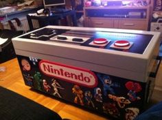 Classic Nintendo controller storage ottoman. And it's 100% usable as a controller. How awesome is that?!?!