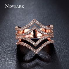 Find More Rings Information about NEWBARK Brilliant Ring Double Crowns In…