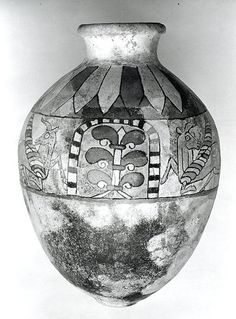 Jar with winged bulls and flanking palmettes (Period: Iron Age III Date: ca. 8th–7th century B.C. Geography: Iran, said to be from Ziwiye Culture: Iran Medium: Ceramic, glaze Dimensions: 13.5 in. (34.29 cm) Classification: Ceramics-Vessels Credit Line: Harris Brisbane Dick Fund, 1951)