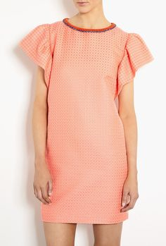 Micro Jacquard Pink Shift Dress by MSGM