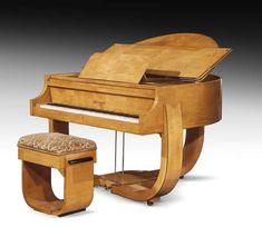 amazing art deco piano(chair needs new fabric)