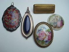 Konvolut Schmuck Anhänger Broschen Porzellan Miniatur Malerei Rosenthal Limoges