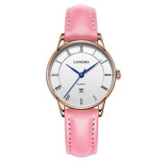 LONGBO Womens Casual Rose Gold Case Analog Quartz Business Watches Pink Leather Band Bracelet Wristwatch Waterproof Blue Hands Roman Numral White Dial Auto Date Couple Dress Watch For Lady *** Check out the image by visiting the link. (Note:Amazon affiliate link)