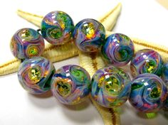 SMAUGGS handmade lampwork beads (11p, 16mm), glass, green, pink, gold, hole 2mm