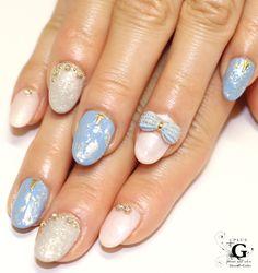 Blue ribbon nail #nailart