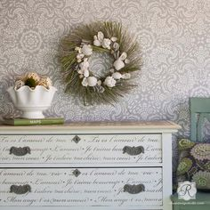 Our French Love Letters Furniture Stencils can be used for either modern or vintage home decor. Create a romantic pattern of French phrases and love quotes on painted furniture such as a table top or on the sides of dresser drawers.