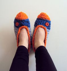 Women's Crochet Slippers House Shoes Home Slippers with Buttons Women Clothing Accessories Gift Ideas by GrahamsBazaar on Etsy, $29.00