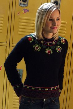Lucky Brand Floral Knit Sweater and Veronica Mars Photograph