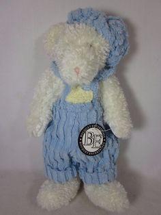 """Bouquet Enterprises Chenille Plush Bear Blue Overalls 14"""" #BouquetEnterprisesInc"""