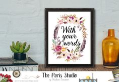 Custom Design Watercolor Floral Art Print - Custom Quote Design #wallart #digitalart