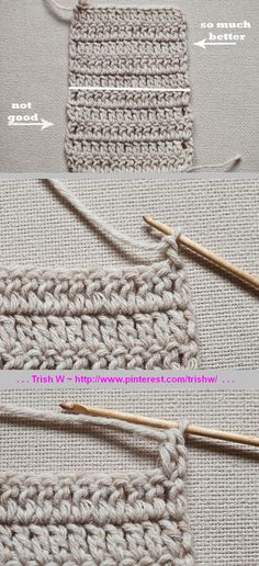 Technique :: Simple Even Double Crochet Edge ~ Pull working loop up a little bit. Technique :: Simple Even Double Crochet Edge ~ Pull working loop up a little bit longer than you normally do for ch (it . Crochet Double, Easy Crochet, Crochet Hooks, Knit Crochet, Crochet Borders, Crochet Stitches Patterns, Stitch Patterns, Crochet Edgings, Crochet Basics