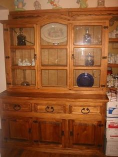 Mexican Rustic China Cabinet Hutch Breakfront Buffet Kitchen Dinning Furniture Ebay