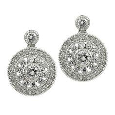 New #DropEarrings #DangleEarrings CZ #Earrings #ARTDECO Style Round Silver Silver 925 #Intricate PostBack #Jewelry