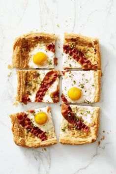 "Bacon Gruyére Breakfast ""Pie"" – This is basically breakfast pizza all fancified. Click for the whole recipe and for more easter brunch ideas."