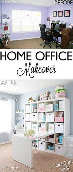 Office Makeover Reveal Budget home office makeover!Budget home office makeover! Craft Room Storage, Room Organization, Diy Storage, Craft Rooms, Craft Space, Storage Ideas, Closet Storage, Cube Storage, Casa Color Pastel