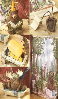 18 PC Bear Moose Lodge Bathroom Shower Curtain Set Soap