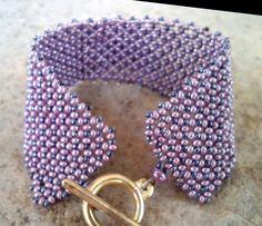 Bracelet, handmade, Czech Purple Opaque Luster and Dark Gray Metallic Lustered Preciosa Ornela glass beads (237).