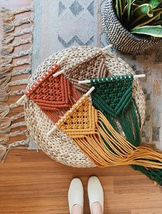 handmade macrame hanging using cotton yarn hanging from a wooden dowel this piece is about in length please note that this item is made to order, so there may be some slight variations Macrame Wall Hanging Patterns, Yarn Wall Hanging, Macrame Plant Hangers, Macrame Patterns, Wall Hangings, Macrame Design, Macrame Art, Macrame Projects, Macrame Knots