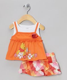 Take a look at this Orange Winnie the Pooh Flower Tank & Ruffle Skort - Infant by Disney on #zulily today!