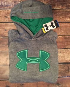 UNDER ARMOUR Boys Youth Hoodie Big Logo Cold Gear Sweatshirt Gray Green XL…