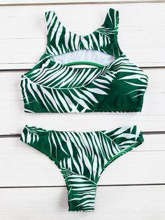 Ensemble bikini découpé à la feuille