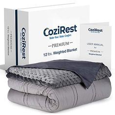 Buy CoziRest Cooling Weighted Blanket - 12 lbs - Queen Size Quilt - Cool Bamboo & Cozy Minky Dual-Sided Cover Included - Heavy Blanket for Adults and Kids from lbs Weighted Blanket For Adults, Best Weighted Blanket, Queen Size Quilt, Queen Size Bedding, Heavy Blanket, Sleep Solutions, Cooling Blanket, Trouble Sleeping, Cover Gray