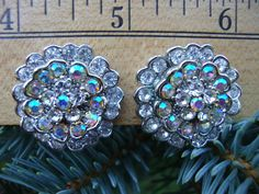 Stunning Iridescent Rhinestone Clip On Earrings...Because you want sparkle and lots of it!