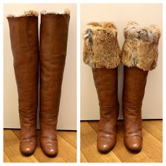 Size 8 Brown Leather Fur Lined Over The Knee Boots Vintage 1980s Tall High Heel Leather Winter Boot High Soft Leather Women's Knee High Boot