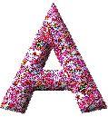 Alfabeto chispeante de flores de colores.