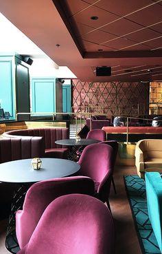 Copper, gold, teal, burgundy, rise gold, black. Haymarket hotel, Stockholm.