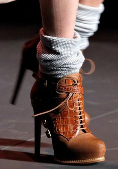 Fashion trend 2015. Attractive chocolate high heeled boots. These remind me of some styles during the 70s and 80s.