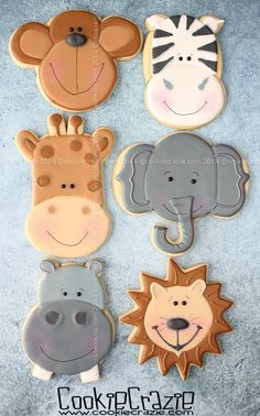 What could be better than one of these Jungle Buddies cookies. All of em of course! Cookies For Kids, Fancy Cookies, Iced Cookies, Cute Cookies, Cupcake Cookies, Sugar Cookies, Cupcakes, Cookies Decorados, Galletas Cookies