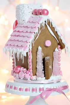 {Video} Making a Gingerbread House & {Free Printable} Gingerbread House Template. - {Video} Making a Gingerbread House & {Free Printable} Gingerbread House Template – pink-gingerbr - Christmas Gingerbread House, Noel Christmas, Pink Christmas, Christmas Goodies, Xmas, Gingerbread Village, Gingerbread Cookies, Italian Christmas, Icing For Gingerbread Houses