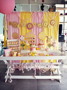Pink Lemonade Birthday Party Feature Pink Lemonade Party-Pink and yellow plastic tablecloth background Sunshine Birthday Parties, First Birthday Parties, First Birthdays, Birthday Ideas, Birthday Candy, Dessert Party, Party Desserts, Dessert Tables, Cupcake Party