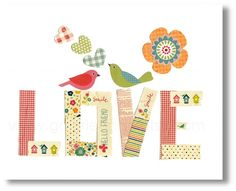 Nursery art prints, baby nursery decor, nursery wall art, children wall art, kids art, Birds, Love 8x10 print.  via Etsy.