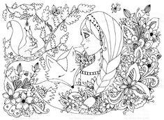 Ilustracja wektorowa dziewczyny. Kolorowanka anty skrajnych dla osób dorosłych. stockowa ilustracja wektorowa royalty-free