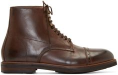 $245, Hudson H By Brown Leather Wantage Boots. Sold by SSENSE. Click for more info: https://lookastic.com/men/shop_items/343060/redirect