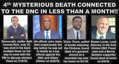 HERES THE LIST OF DEATHS CONNECTED TO #HILLARYCLINTON JUST WITHIN THE PAST TWO…