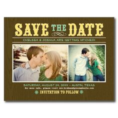 Wedding Save the Date Photo Postcards   Vintage Western Rustic Design in lemon yellow and mint green (available in many colors)