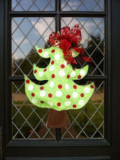 Christmas tree burlap door hanger