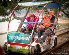 Cute Korean couple enjoying an afternoon rail bike with an ocean view #Samcheok #Korea