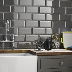 Grey Kitchen Wall Tile Beveled Metro Field x Sample - Metro Range - Core Collection - Shop By Range - Tiles Grey Kitchen Wall Tiles, Kitchen Backsplash, Kitchen Grey, Metro Tiles Kitchen, Backsplash Wallpaper, Kitchen Flooring, Kitchen Interior, New Kitchen, Kitchen Decor