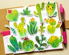 Cactus Stickers, Love Stickers, Sticker Shop, Sticker Design, Watercolor Stickers, Plants Are Friends, Waterproof Stickers, Laptop Decal, Different Shapes
