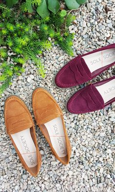 Classic suede penny loafers in rich fall chestnut & burgundy | Sole Society Maia