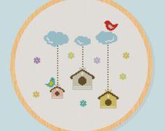 Cross Stitch Pattern Birdcage Bird Cloud PDF digital file