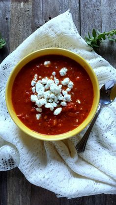 Tomato soup that can be made in less than thirty minutes-- full of heart healthy veggies and topped with a generous helping of goat cheese.