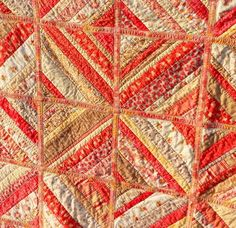 Twinkle and Twine: Finished Quilt: Coral & Yellow Quilt As You Go