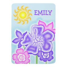 Colorful Stylized Flowers for Girl Stroller Blankets. #blankets #baby #forbaby #flowers #personalized #name